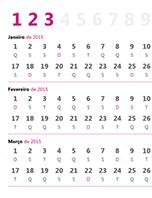 Calendários trimestral de 2015