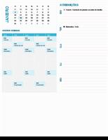 Calendário de planejamento semanal do aluno (qualquer ano, seg-dom)