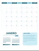 Calendário acadêmico de segunda-feira a domingo (qualquer ano)