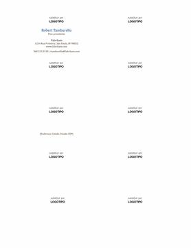 Cartões de visita, layout horizontal com logotipo, nome com primeira letra em maiúscula