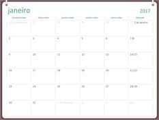 Calendário 2017 (segunda-feira – domingo, design de dois anéis)