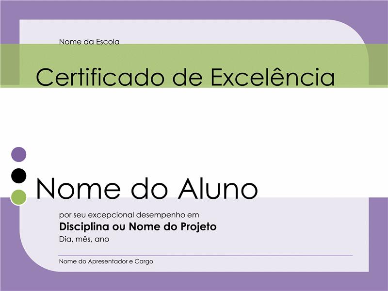 Certificado de excelência para aluno