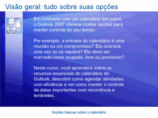 Apresentação do treinamento: Outlook 2007 — Noções básicas sobre calendários