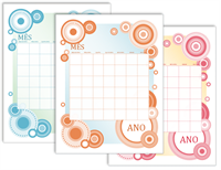 Construtor de calendários mensais (design de círculos)