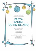 Convite para festa de férias com ornamentos azul, verde e amarelo (design Informal)