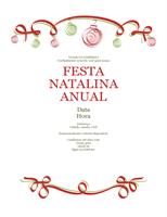 Convite para festa de férias com ornamentos vermelho e verde (design Formal)