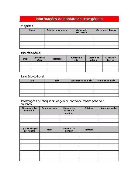 Planilha de informações de contato de emergência (tema de viagem)