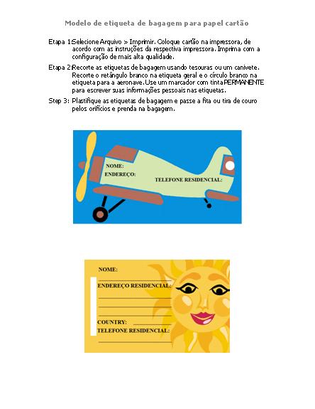 Etiquetas de bagagem (tema de artes/viagem)