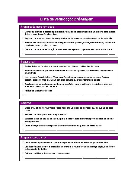 Lista de verificação pré-viagem (tema de viagem)
