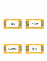 Cartões de nome ou local (design de sol e areia, estilo dobrável)