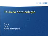 Amostra de slides de apresentação (Design azul com barra branca)