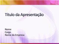 Amostra de slides de apresentação (design branco com amarelo e magenta)