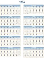 Calendário anual 2016-2025