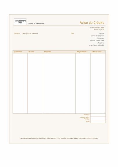 Aviso de crédito (design Castanho-avermelhado)