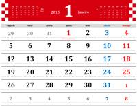 Calendário de 2015 anual simples com feriados (seg - dom)
