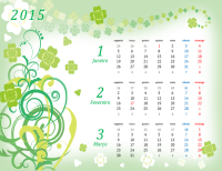 Calendário trimestral de 2015 (seg - dom, design de estações)