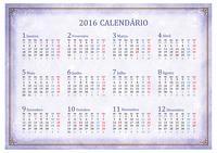 Calendário de 2016, visão mensal (Seg - Dom)