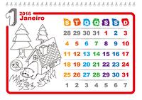 Calendário de colorir de 2016  (Seg - Dom)