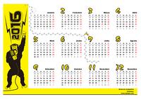 Calendário anual de 1 página para o ano de 2016 com as semanas começando na Segunda-feira