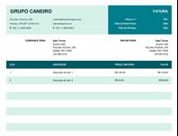 Nota fiscal básica com preço unitário
