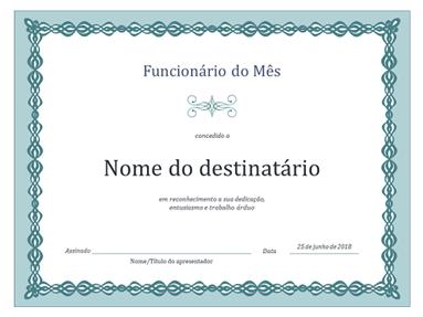 Certificado para o Funcionário do Mês (design de corrente azul)