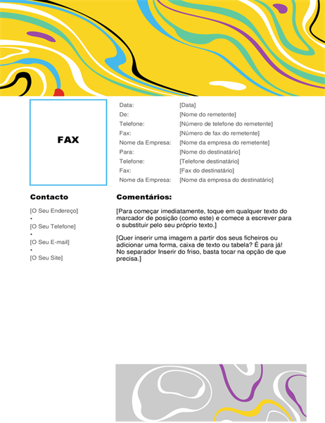 Folha de rosto de fax com espiral de cores