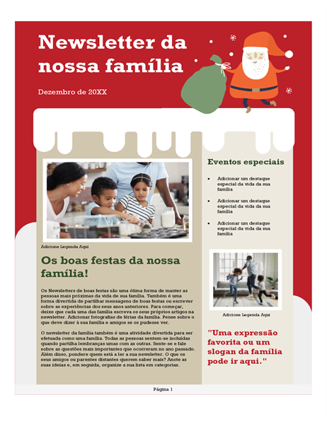 Boletim informativo de família de Natal