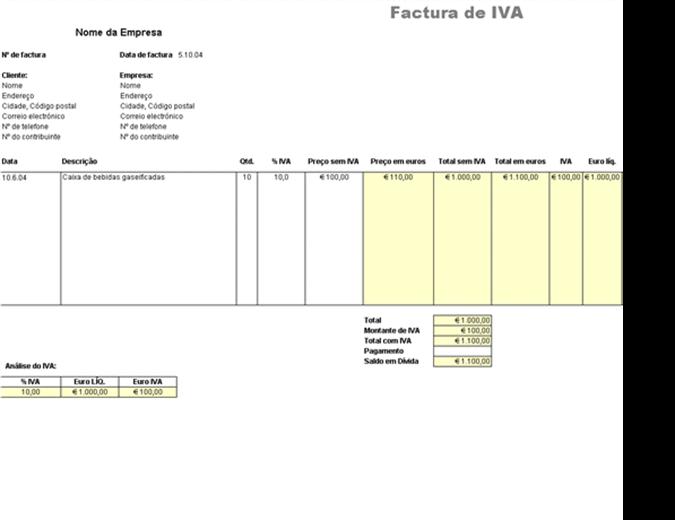 Factura de IVA - preço excluindo o imposto
