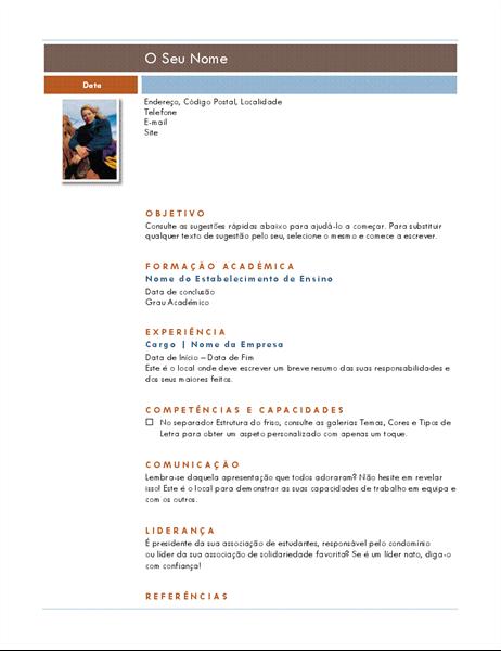 Currículo com fotografia (tema Mediano)
