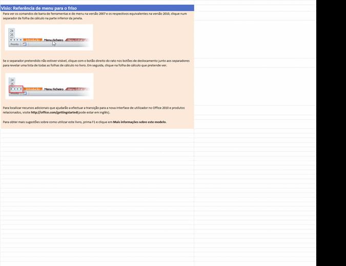 Visio 2010: Livro de referência do menu para o friso
