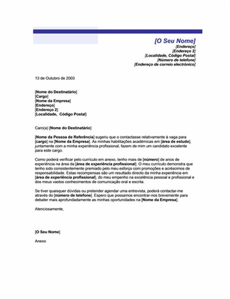 Carta de apresentação quando referida (tema Linha Azul)