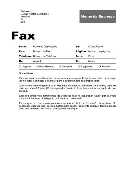 Folha de rosto de fax (Design profissional)