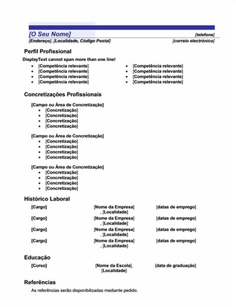 Currículo funcional (desenho Linha Azul)