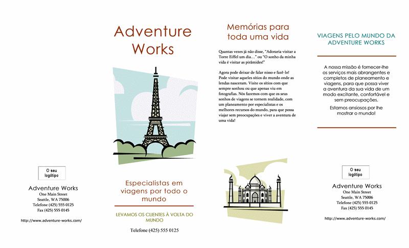 Folheto de viagens (8 1/2 x 14, paisagem, 4 dobras)