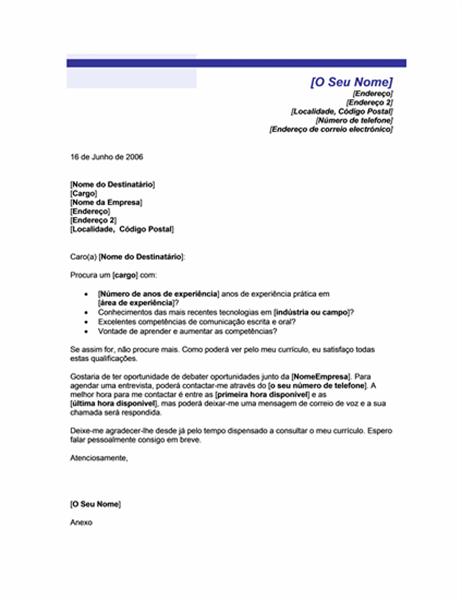Carta de apresentação para currículo não solicitado (tema Linha Azul)