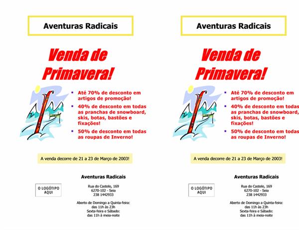 Panfleto de venda comercial (8,5x11, 2 itens, 2 para cima)