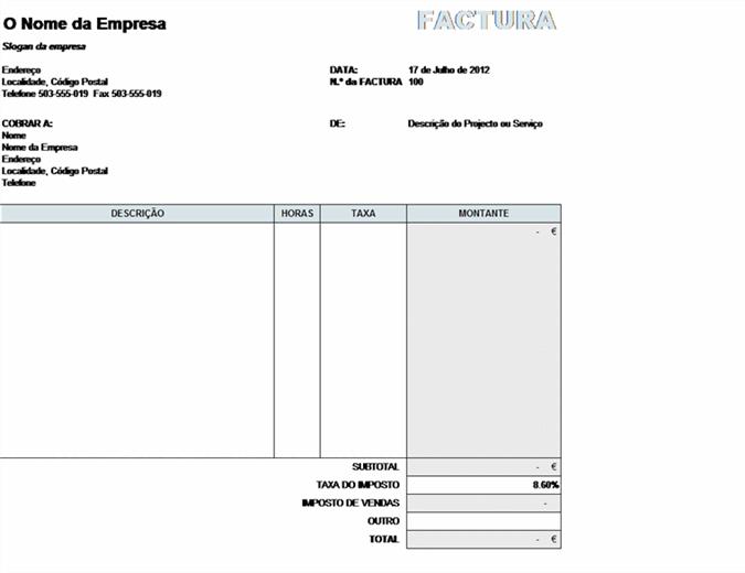 Factura de serviços com cálculo de impostos