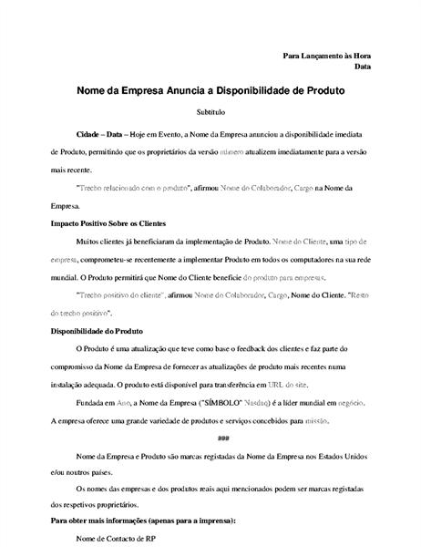 Informações à imprensa com anúncio do produto