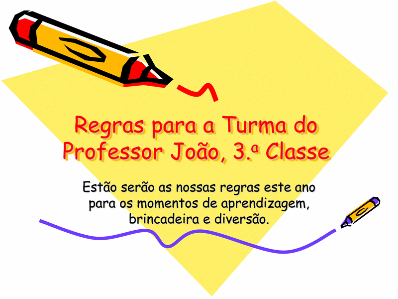 Regras da Classe do 3.º Ano