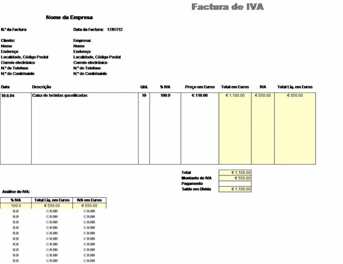 Factura de IVA - preço incluindo o imposto
