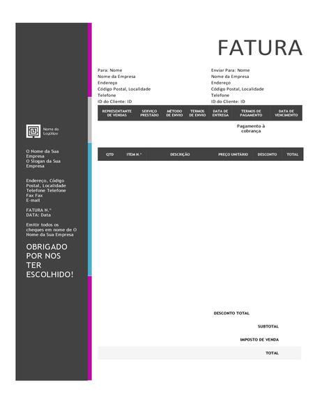 Fatura de vendas (design com Gradação Azul)