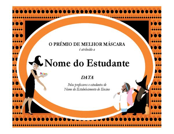 Prêmio de melhor fantasia do Dia das Bruxas