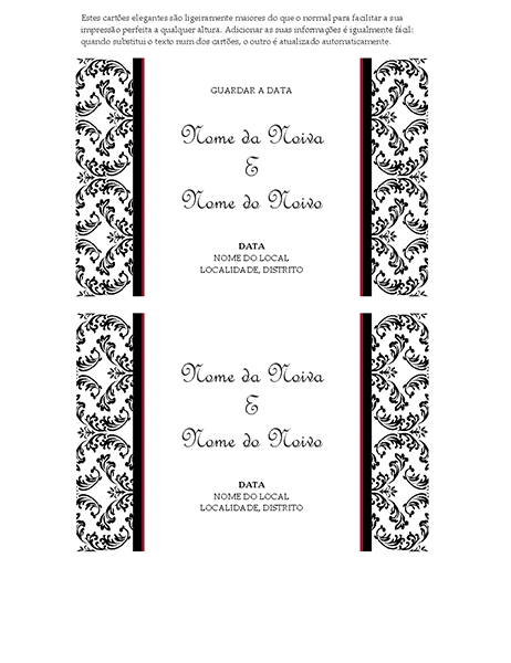 Cartão de lembrança da data do casamento (design de casamento Preto e Branco)