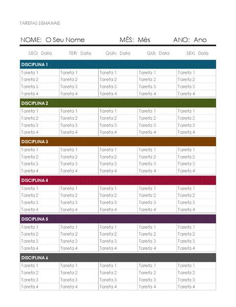 Calendário semanal de tarefas