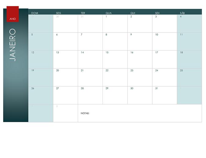 Calendário para qualquer ano (tema de íon)