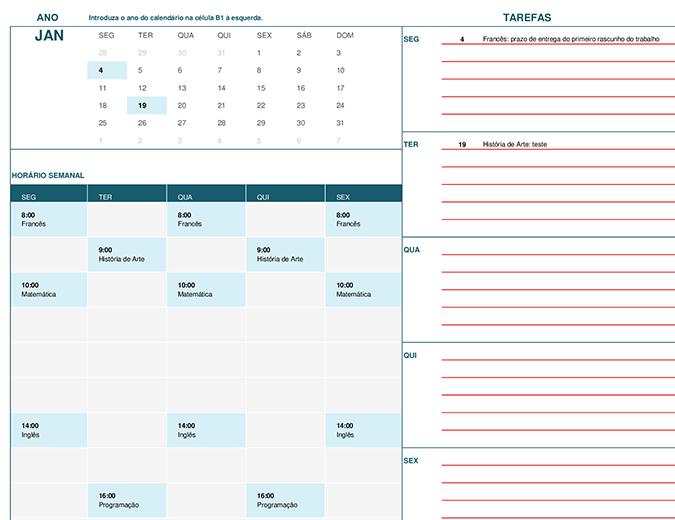 Calendário escolar (Seg)