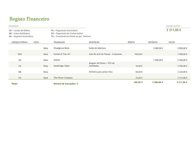 Registo financeiro com códigos de transação