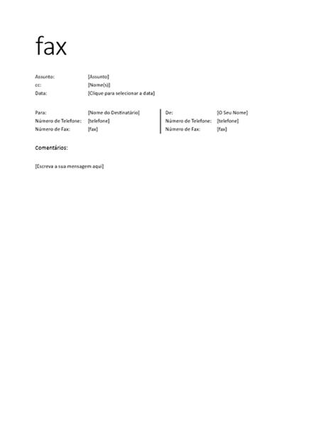 Folha de rosto de fax (informal)