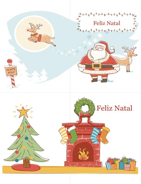 Cartões de Natal (design Espírito de Natal, 2 por página)