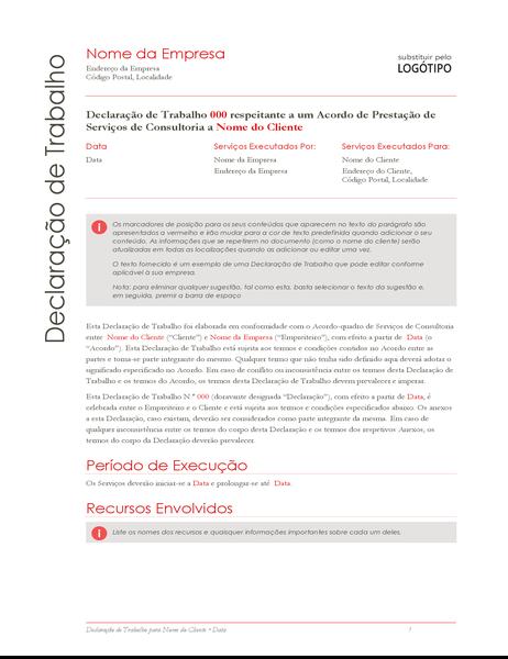 Declaração de trabalho (design vermelho)